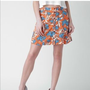 Forever 21 orange floral print skirt set